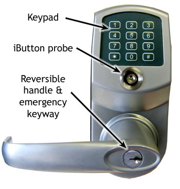 CrossOver X45: Our heavy-duty keypad lock with the emergency lock button.